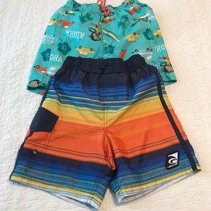 2 boys Carter's & Laguna swim shorts sz 4 & 4T
